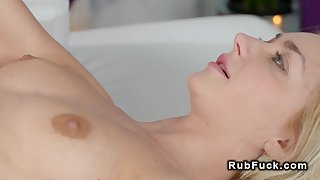 Blonde with small tits gets lesbians massage