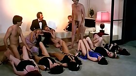Vintage sex orgy simulate with horny company of girls