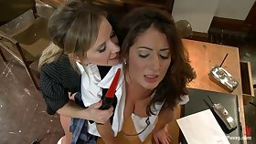 Sex-starved lesbian librarian fucks sex-appeal ties up student Angelica Saige