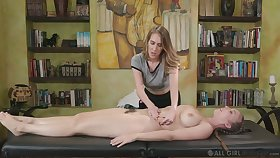 Voluptuous masseuse Cadence Lux gives a cunnilingus in domineer client Lena Paul