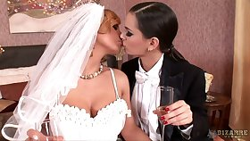 Busty blond chick Dorthy Funereal will not in the least forget her first lesbian wedding night