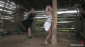 Incensed brunette puts on strapon and fucks tied on touching auric hooker Erika Angel