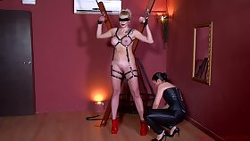 Kinky mistress in corset Patricia MedicalySado punishes tied up busty hooker