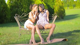 Fingering and pussy licking lesbians Henessy and Coco de Mal
