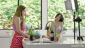 Kitchen lesbian sex hither amazing girls Lena Paul and Jade Baker