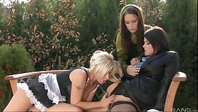 Maid Pees On Her Two Bosses HD video - female, lesbian threesome and femdom