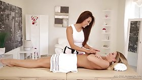 Ayumi and Jessa Rhodes are passionately congress love in a massage room, during the boyfriend